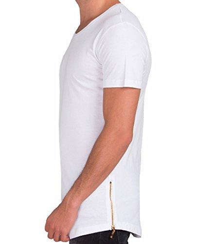 9341b9876461 Red Bridge Herren Golden Silver Boy Oversized Long T-Shirt Weiß (goldener  Reißverschluss) ...
