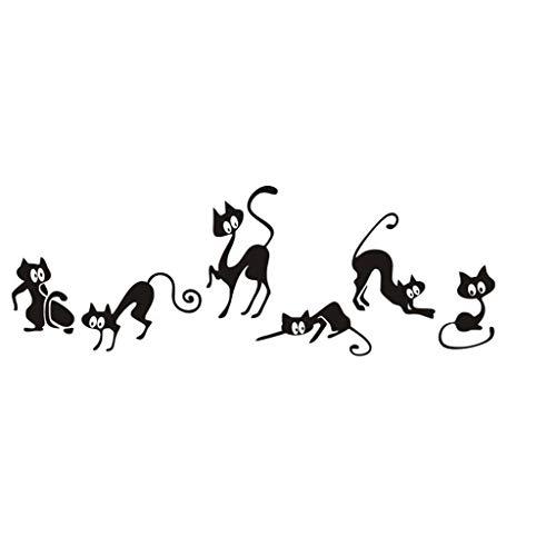 Wandaufkleber DIY 3D Wandtattoos Sechs Katze Tier Familienzimmer Fenster Wandbild dekorativer Aufkleber Persönlichkeit kreative Wandaufkleber abnehmbare Wandaufkleber (black) -