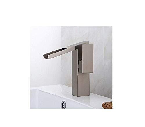 Rubinetti per lavabo rubinetto per lavabo cascata ottone spazzolato rubinetto da cucina in argento quadrato manico singolo foro miscelatore monocomando rubinetti per acqua rubinetti per il bagno