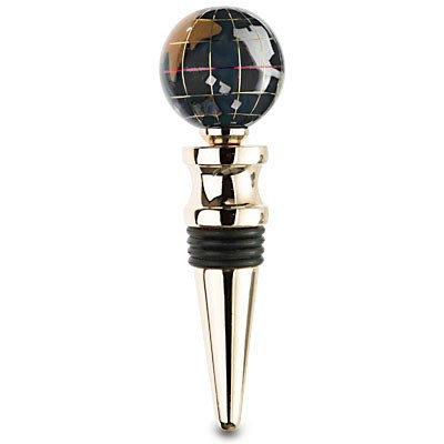 Kalifano Edelstein Globus mit Opalit Ocean auf einem Gold Farbige Wein Flasche Stopper, Black Opalite (Edelstein-globen)