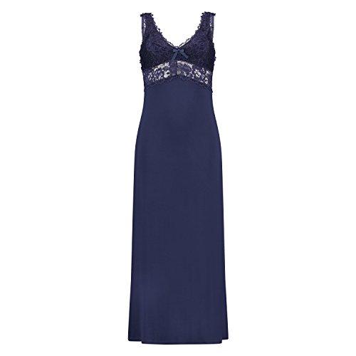 Hunkemöller Damen Langes Slipdress, Modal Lace 117287 Blau M