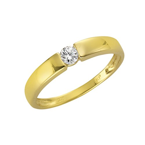 Fascination by Ellen K. Damen Ring 9 Karat 375 Gold gelb Zirkonia Rundschliff weiß Gr. 54 (17.2) 360370073-2-054