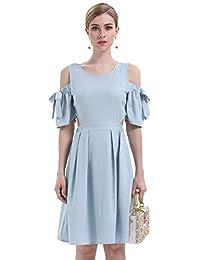 JOTHIN Damen Modisch Kurzarm Kleid Sexy Schulterfrei Partykleid Elegant  Casual Kleider A-Linie Cocktailkleid… fa7d6aa9cb