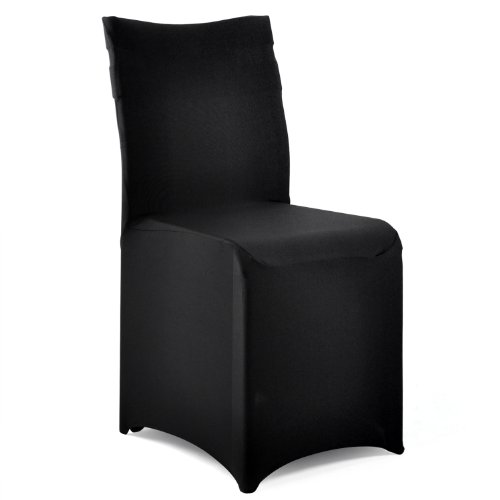 TRIXES Black Spandex Lycra Chair Cover for Banquets Wedding Reception Parties - BLACK & WHITE AVAILABLE