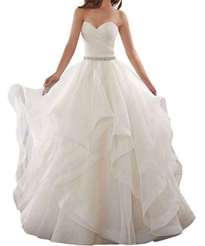 LuckyShe Damen Brautkleid Prinzessin Lang A Linie mit Schleppe Weiß Größe 38