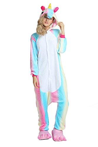 RandWind Einhorn Kostüm Tier Jumpsuit Erwachsene Schlafanzug Pyjama kigurumi Fasching Cosplay Karneval Gr. X-Large, New Rainbow