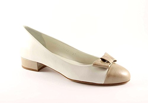 Melluso N511 Rope Femme Chaussures Decolletè Ballerines En Cuir Bow Beige