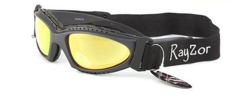 Rayzor Professionelle UV400 Gun Metal Grau 2 In 1 Padded Sport-Sonnenbrille / Schutzbrille, mit einem Antibeschlagbehandeltes Gold-Iridium Mirrored Blend Clarity-Objektiv und ein abnehmbare, elastische Stirnband.