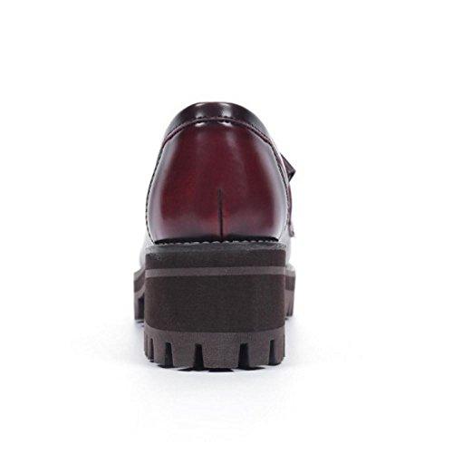 COOLCEPT Damen Mode-Event Slip On Schuhe mit Absatz Geschlossene Pumps Gladiator Schuhe mit Fransen Wine Red