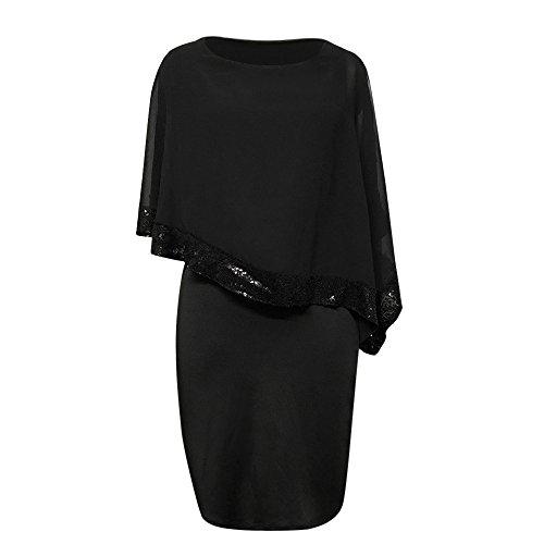 KIMODO Damen Kleider Schlitzhülse Pailletten Kleider Aufflackern-Hülsen Minikleid Mesh Partykleid Chiffon Sommerkleid -