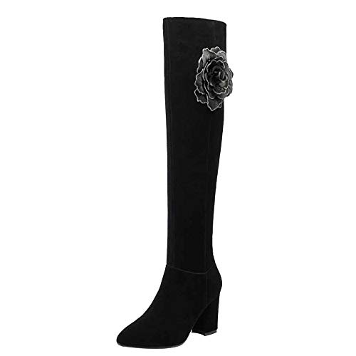 Miss Li Damen über Die Knie Stiefel Herbst Und Winter Bereift Platz Dick Mit Blumendekoration Samt High Heels,Black8cm-39
