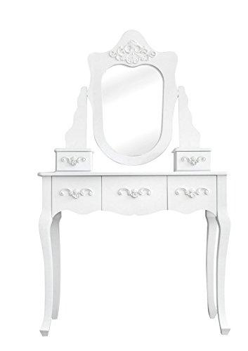 Rebecca Srl Tavolo Make up 5 Cassetti 1 Specchio Removibile Legno Bianco Stile Classico Bagno Salotto (Cod. RE4018)