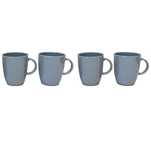 Melamin Geschirr 4 Becher 350ml ideal für Camping grau mit Anti-Slip Trinkbecher Kaffeetasse Kaffeebecher Tasse Campinggeschirr Picknick Kindergeschirr modernes Melamingeschirr Outdoor Tassen