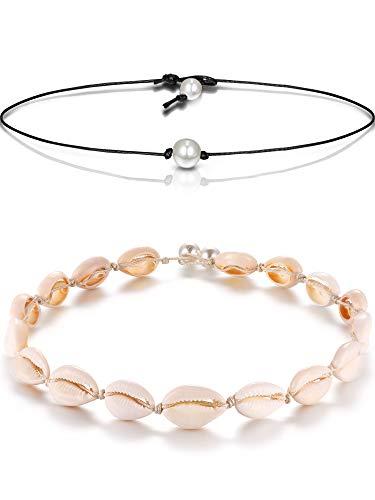 2 Stücke Single Süßwasser Perlenkette auf Schwarz Lederband und Shell Perlen Halsketten Choker Hawaii Boho Sommer Strand Schmuck Set für Damen Mädchen (2 Stücke Stil G) -