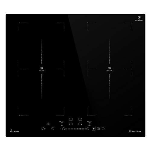 Induktionskochfeld 59cm (Autark, 7kW, 9 Stufen, 4 Zonen, 2 Flex-Zonen, Rahmenlos, TouchSelect Sensortasten, Booster, LED-Anzeige, BBQ-Funktion) IND5904FZ - KKT KOLBE