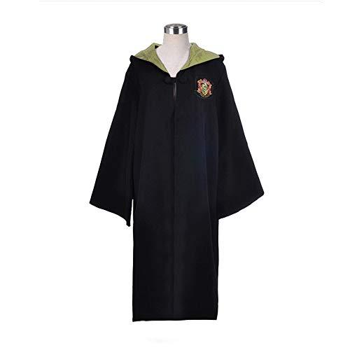 Egleson Costume da Mago Abito Nero Mago Cappotto Lungo con Cappuccio Uniforme Scolastica Costume per la Festa a Tema e World Book Day (Giallo,XL)