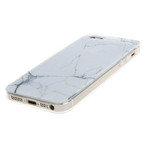 iPhone 5 5S SE Coque , YIGA Pinguin Noir Blanc Bleu Transparent 3D Crystal TPU Silicone Doux TPU Case Cover Housse Etui pour Apple iPhone 5 5S / iPhone SE Blanc Marbre