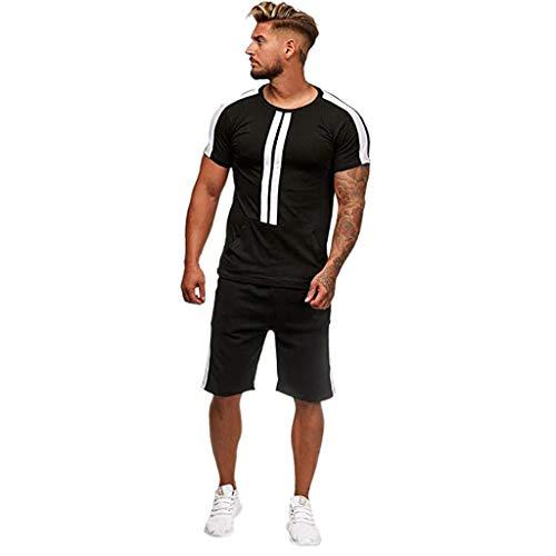MakefortuneHerren Pyjama Set, Herren Baumwolle Set Sommer Loungewear Sport Outfit Kurzarm gestreifte Nachtwäsche und Top PJ's Set (Streifen Top Pj)