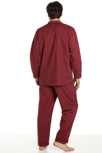 Haigman Herren Pyjama mit langem Arm und Pyjamahosen, Burgund Rot