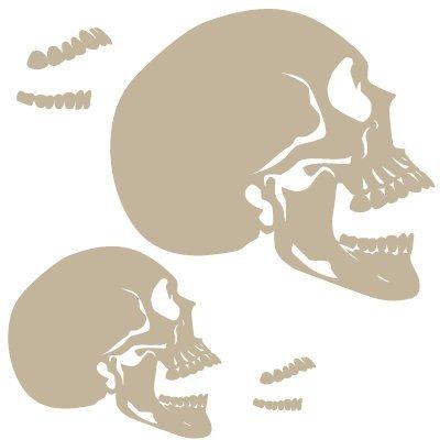 Stencil Airbrushing Schädel 016 Profile Offener Mund. Stencil Grösse: 20 x 30 cm Design Grösse: 16,9 x 24,8 cm Figur Grösse 1: 16,9 x 15,2 cm Figur Grösse 2: 11,5 x 10 cm