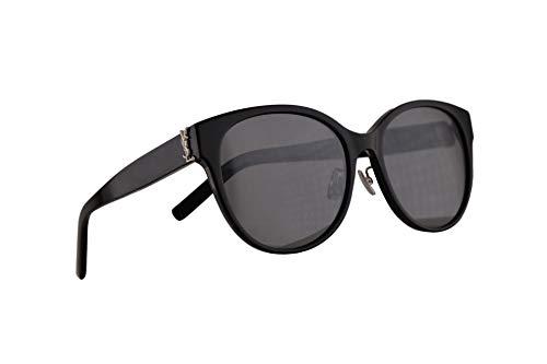 Saint Laurent SL M39/K Sonnenbrille Schwarz Mit Silbernen Gläsern 57mm 002 M39K SLM39/K