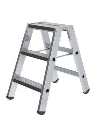 Stufen-Stehleiter, beidseitig - Ausführung gepolstert - 2 x 3 Stufen - Alu-Leiter Alu-Stufenstehleiter Bockleiter Leiter Stehleiter Stufenleiter