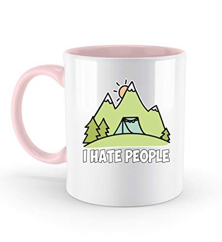 PlimPlom I Hate People Kaffeetasse Ich Hasse Menschen Tasse Camping Spruch Geschenk Idee - Zweifarbige Tasse -330ml-Puder Rosa