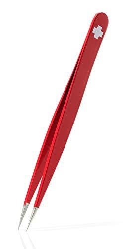 Rubis Splitterpinzette Swiss Pointer - Pinzette für eingewachsene Haare und Splitter - spitz rutschhemmend -