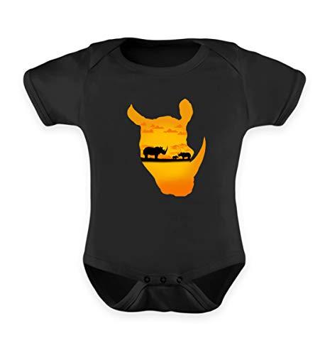 Nilpferd Kostüm Baby - EBENBLATT Nilpferd Safari Tour Kostüm Afrika Urlaub Kleidung Outfit Geschenkide - Baby Body -0-6 Monate-Schwarz