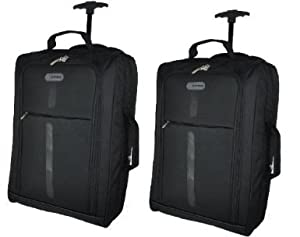 Set Of 2 Super Lightweight Cabin Approved Luggage Travel Wheely Suitcase Wheeled Bags 14k - 40 Litres -blackgrey