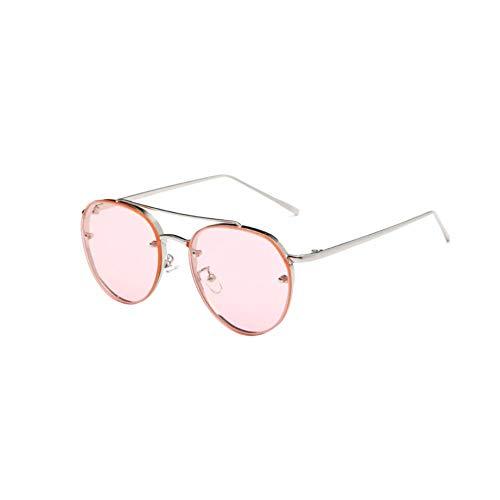 Ogquaton Premium Ultra Sleek Sonnenbrille Aviator Polarized Metal Mirror Sonnenbrille UV-Schutzbrille für Männer Frauen Silver Frame Pink Lens Langlebig und praktisch