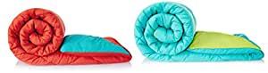 Amazon Brand - Solimo Microfibre Reversible Comforter, Double (Aqua Blue and Olive Green, 200 GSM) + Microfibre Reversible Comforter, Double (Ruby Red and Aqua Blue, 200 GSM) Combo