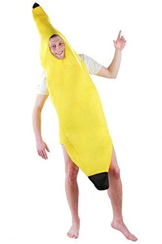 Kostüm Halloween Schlanker Mann - lustiges Bananenkostüm Kostüm für Erwachsene Faschingskostüme Männer Banane Bananenanzug Fasching Bananen Frucht Obst Anzug Bodysuit Karnevalskostüme Größe L