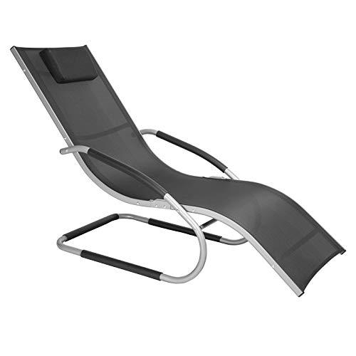 WOLTU LS004sz Chaise Longue en Aluminium de Jardin fauteil Relax Respirante en textilène Charge maximale 160 kg, Noir