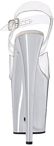 Pleaser Flamingo-808, Sandales Bout Ouvert Femme Transparent (Clr/Slv Chrome)