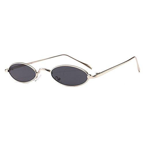 Mxssi kleine ovale Sonnenbrille für Männer Frauen Retro Metallrahmen gelb rot Vintage Sonnenbrille C7