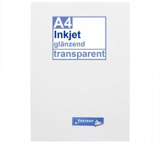 Inkjet Klebefolie 10 x DIN A4 transparent glänzend, klar - Glasklar - Druckerfolie zum bedrucken mit Tinte (Drucken Aufkleber)