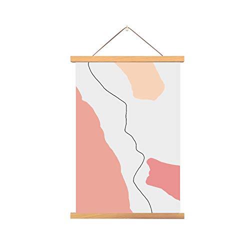 mmzki Tessuto Nordico Acquerello Astratto Appeso Pittura casa Soggiorno Camera da Letto Albero in Legno massello Disegno P 50x70cm