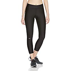 Under Armour HG Ankle Crop Pantalones Pirata, Mujer, Black/Metallic Silver, Small