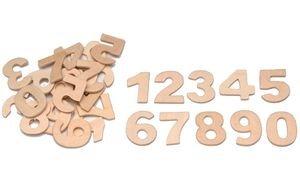 GLOREX Zahlen aus Holz 30St, Natur, 10.5 x 10 x 1 cm