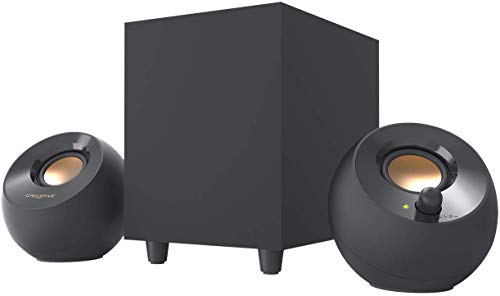 Haut-parleurs de Bureau alimentés par USB 2.1 Creative Pebble Plus avec Caisson de Basse downfire et conçus avec Un Champ lointain pour d'ordinateur et Ordinateurs Portables (Noir)