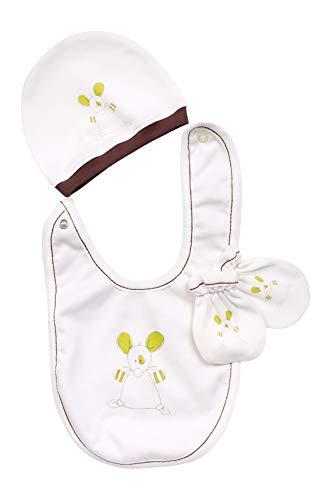 For Babies - Set Neonato per Ragazze e Ragazzi - 3 Pezzi - Cappello + Bavaglino + muffole - 100{8ba1e8f267613f08d8a485fe24407e58aa921c71a19af6d33234249cb9e139a1} Cotone Biologico - Made in EU (sorcio)