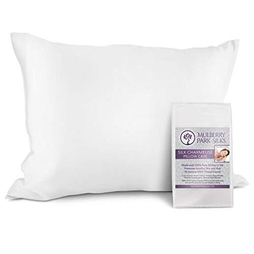 Reine Seide Kissenbezüge, 100% Mulberry Seide, Oeko-Tex® Zertifiziert, verhindert Sleep Falten, schützt Haar, Seide, weiß, Queen (20 by 30 inch) -