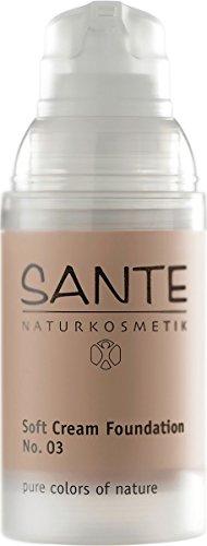 SANTE Naturkosmetik Soft Cream Foundation No. 03 sunny beige, Samtig, ebenmäßiger Teint, Mit Mineralpigmenten, Cremige Textur, Vegan, 30ml (Mineral Flüssig-make-up)