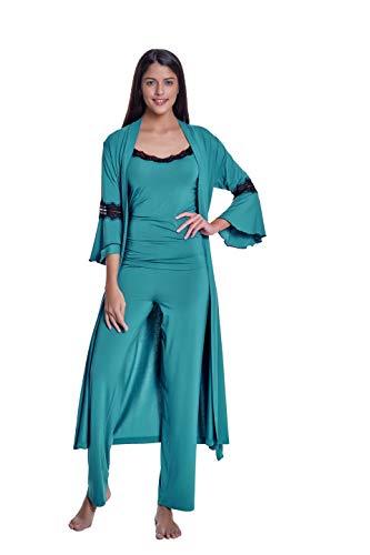 Luisa Moretti 3-teilige Damen Pyjama Set mit Spitze und Morgenmantel aus Bambus-Faser Bamboo Nachthemden Nachtwäsche Grün Small
