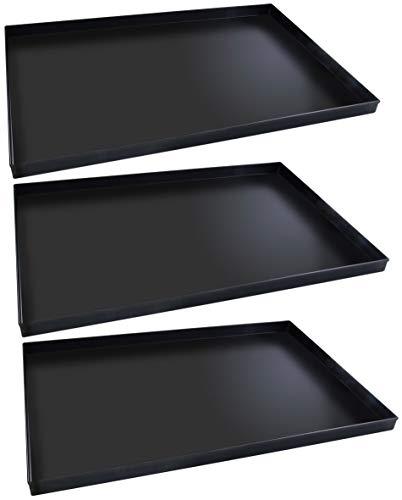 FMprofessional Pizzablech-Set 60x40 cm, eckige from ideal für Pizza, Backblech ist hitzebeständig bis 400°C, rechteckiges Blech mit Emaille Versiegelung (Farbe: Schwarz), Menge: 1 x 3 Stück