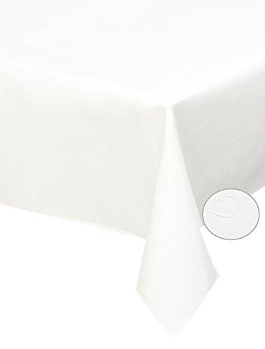 Leinen Tischdecke Weiße Quadratische (Tischdecke weiß 110x 110cm quadratisch Lotuseffekt, abwaschbar, Schmutz- und Wasserabweisend, eckig - Größe, Farbe & Form wählbar (Rund Eckig Oval))