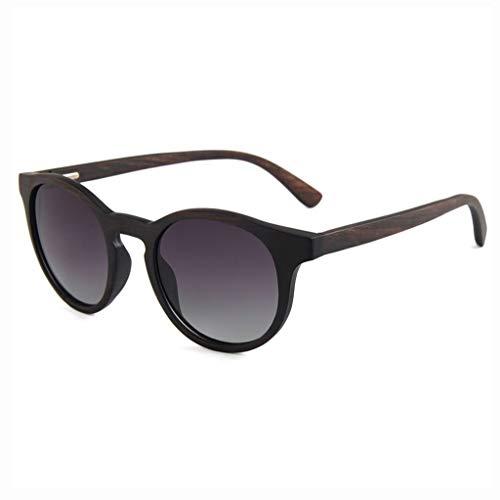 MWPO Sonnenbrille Runder Rahmen Retro Hochwertiges Naturholz Anti-UV-Schutz Outdoor Sports Langlebige Schutzbrille (Farbe: Schwarzer Rahmen graue Linse)