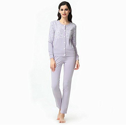 SHUGJ La signora modale a maniche lunghe cardigan stampato tuta pigiama , viola , xxl (170/92a)