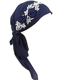 Fossrn Vintage Mujer Turbantes Pañuelos Cabeza con Flores,Color Sólido, para Càncer Quimioterapia, Chemo Oncológico, Noche Pèrdida de Pelo Cabello, Bufanda Musulmana